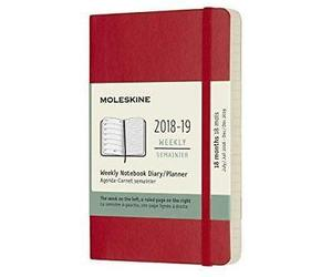 Moleskine 2018-2019 18m Weekly Notebook Pocket Cover Soft Red Scarlet 3.5 X 5.5, an item from the 'Safe For Work' hand-picked list