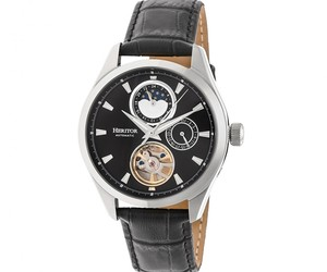 Heritor Automatic Sebastian Semi-Skeleton Leather-Band Watch  - Silver/Black, an item from the 'Rock Around the Clock' hand-picked list