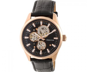 Heritor Automatic Stanley Semi-Skeleton Leather-Band Watch - Rose Gold/Black, an item from the 'Rock Around the Clock' hand-picked list