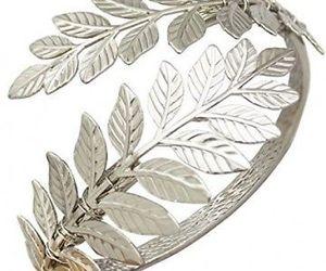 RechicGu Silver Tone Greek Roman Laurel Leaf Bracelet Armband Upper Arm Cuff, an item from the 'Leaf It Be' hand-picked list