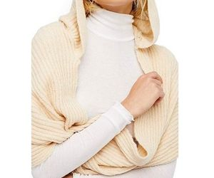 Free People Women's Bottom Line Hooded Rib Cowl Neck Wrap, Taupe NWT, an item from the 'To Infinity (Scarf) and Beyond' hand-picked list