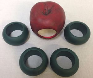 Apple Napkin Ring Set 5 Pc Green Red Figural Table Decor Fall Decoration Holders, an item from the 'Fall Table Decor' hand-picked list