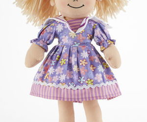 "Blonde Hair Apple Dumplin Doll, Purple Explosion Floral Dress, 14"", Delton, an item from the 'Purple Passion' hand-picked list"