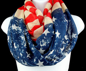 Antique American Flag Women's Scarf 4th July Holiday Scarfs Red Blue Scarves, an item from the 'To Infinity (Scarf) and Beyond' hand-picked list