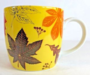 Now Designs (Bright Autumn Leave) Yellow Coffee Ceramic Mug 12 oz, an item from the 'Autumn Spirit' hand-picked list