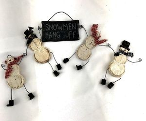 Handmade Wooden Snowman Decorative Door Wall Hanging garland shelf decor wreath, an item from the 'Handmade Christmas' hand-picked list