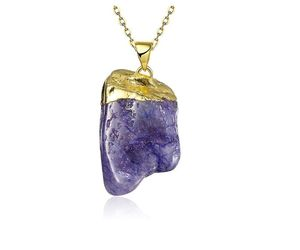 Quartz Stone Crystal Pendant Natural Stone Gem Chain Jewelry Fashion Necklace, an item from the 'Practice Safe Hex' hand-picked list