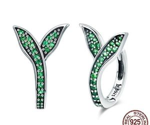 Women 925 Sterling Silver Earrings Spring Collection Flower Buds Green CZ Hoop, an item from the 'Green is the Color of Spring and St Patty's Day' hand-picked list