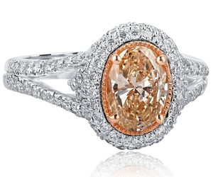 2.01 TCW Oval Cut Brownish Yellow Diamond Engagement Halo Ring 18k White Gold Sp, an item from the 'The Sweetest Ring' hand-picked list