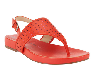 Isaac Mizrahi Live! Leather Cutout Sandals ORANGE PINK 8M, an item from the 'Sweet Summer Sandals' hand-picked list
