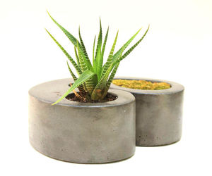 Double Concrete Planter Flower Pot Handmade Home & Garden Decor 2 Colors Avail., an item from the 'Pretty Planters' hand-picked list