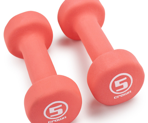 Pair of 5lb Salmon Neoprene Body Sculpting Hand Weights, an item from the ' Home Office and Exercise' hand-picked list