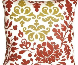 Bohemian Damask Red, White and Ocher Throw Pillow (KB1-0015-01-18), an item from the 'Throw Pillows' hand-picked list