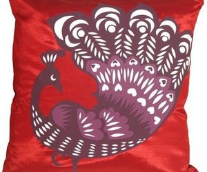 Pillow Decor - Proud Peacock Red Throw Pillow (KB1-0014-04-16), an item from the 'Throw Pillows' hand-picked list