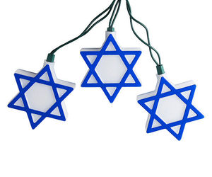 KURT ADLER HANUKKAH STAR OF DAVID 10-LIGHT SET BLUE & WHITE HOLIDAY DECOR, an item from the 'It's the Holiday Season' hand-picked list