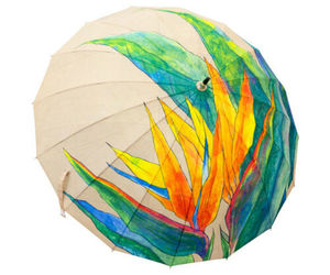 Japanese Pattern Textile Bamboo Umbrella 16 Head Umbrella - Bird of Paradise, an item from the 'Community Picks: April Showers...' hand-picked list