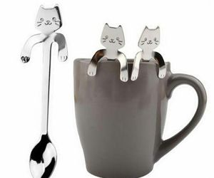 Mounchain Cute Cartoon Cat Stainless Steel Handle Hanging Tea Coffee Spoon, an item from the 'Friends in the Kitchen' hand-picked list
