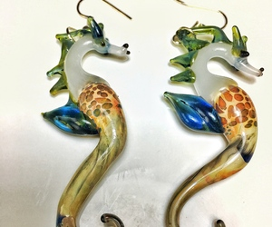 glass blown seahorse earrings jewelry with a green colored mane and blue fin, an item from the 'Unique Handmade & Handcrafted Jewelry' hand-picked list
