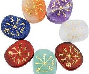 Rockcloud Healing Crystal 7pcs Engraved Vikings Symbol Palm Stones Reiki, an item from the 'Practice Safe Hex' hand-picked list