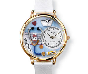 PERSONALIZED WHIMSICAL WATCHES NURSE WATCH-- FREE NAME, unisex, handcrafted, NEW, an item from the 'Rock Around the Clock' hand-picked list