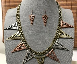 Triangle Spike Arrow Necklace & Earrings Set Women Statement Boho Jewelry , an item from the 'Geometrically Speaking..' hand-picked list