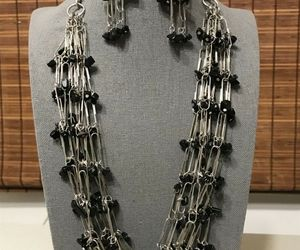 Paper Clips Black Onyx Chips Statement Necklace & Earrings Women Teacher Jewelry, an item from the 'Community Picks: Steampunk & Gothic Jewelry' hand-picked list