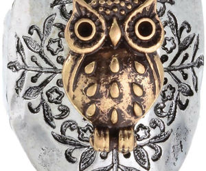Owl Two Toned Hammered Design Stretch Ring Will Fit Sizes 8 and Up, an item from the 'Owl wear that' hand-picked list