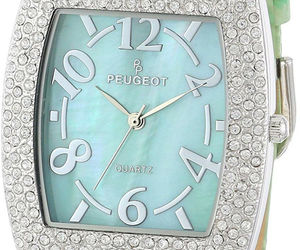 Peugeot Womens 342MT Silver-Tone with Crystals Accented Mint Leather Strap, an item from the 'Watches for Her ' hand-picked list