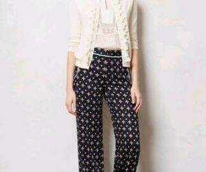 New Anthropologie Foulard Novelty Wide-leg Pants by Elevenses BLUE MOTIF Size 6T, an item from the 'Fearless & Fashion Forward' hand-picked list