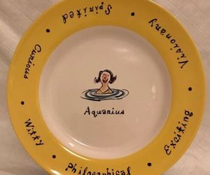 "Pottery Barn WHAT'S YOUR SIGN? ""AQUARIUS"" 8"" Collectible Salad Plate Yellow Rim, an item from the 'AQUARIUS' hand-picked list"