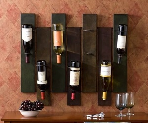 Wall Mount Wine Rack Seven Bottles Capacity Metal Storage Display Organize Art, an item from the 'Let's Put Things in Order' hand-picked list