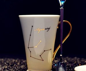 White And Gold Bone Porcelain Mug Zodiak Aquarius Coffee Milk Tea Mug + Spoon, an item from the 'AQUARIUS' hand-picked list
