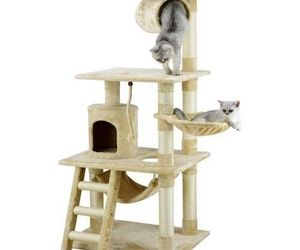 Cat Tree Kitty Pet Play House Hide N Seek Bed Tower Condo Scratch Toys Beige New, an item from the 'Community Picks: Pets are for Pampering' hand-picked list