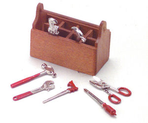 Dollhouse Miniature - Wood Tool Box with Removable Metal Tools, an item from the 'Community Picks: Pint Sized Dollhouse Miniatures' hand-picked list