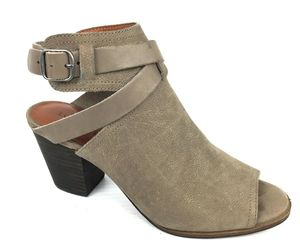 "LUCKY BRAND ""Harum"" Taupe Bridle LeatherPeep Toe Open Back Booties Size 8 Med, an item from the 'Cute Booties' hand-picked list"