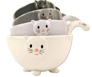 SET OF 4 CAT MEASURING CUPS Nesting Ceramic Bowls Cute Stackable Dishwasher Safe, an item from the 'Friends in the Kitchen' hand-picked list