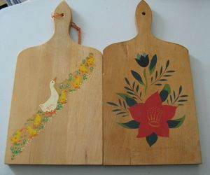 VTG Lot 2 Wood Wooden Paddle Cutting Board Wall Decor Painted Flowers Decal Duck, an item from the 'No Place Like Home' hand-picked list
