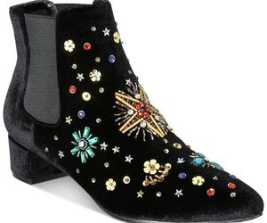 Betsey Johnson JAX Bootie Black Velvet, Size 5, an item from the 'Cute Booties' hand-picked list