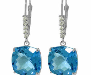 Genuine Blue Topaz Cushion Cut Gems & Diamonds Dangle Earrings 14K Solid Gold, an item from the 'A Hue of my Favorite Things' hand-picked list