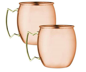 SET OF 2 MODERN HOME 100% SOLID COPPER MOSCOW MULE MUG - 18oz -HANDMADE IN INDIA, an item from the 'Happy Hour at Home' hand-picked list