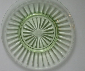 Depression Glass Pillar Optic Green Luncheon Plate - Anchor Hocking - Late 1930s, an item from the 'MINT CONDITION ' hand-picked list