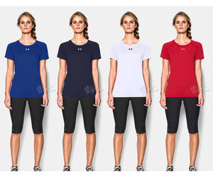 NWT Under Armour Women's Workout Short Sleeve Heat Gear Shirt, an item from the 'Fitness Focus' hand-picked list