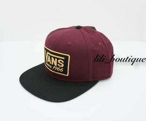 NWT Vans Rectangle 66 Snapback Adjustable Baseball Hat Cap Burgundy Black Yellow, an item from the 'Awesome Baseball Hats' hand-picked list
