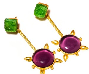 Cabochon Amethyst,Green Druzy Gemstone Gold Plated Handmade Drop Dangle Earrings, an item from the 'Unique Handmade & Handcrafted Jewelry' hand-picked list