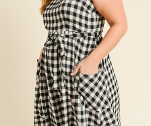 Plus Size Gingham Dress, Black White Plaid Dress, Black Plaid Dress with Pockets, an item from the 'Mad for Plaid' hand-picked list