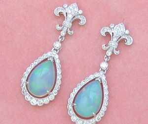ART DECO 1ctw DIAMOND 3.5ctw OPAL PEAR DROPS FLEUR DE LIS STUD DANGLE EARRINGS, an item from the 'Treat Yourself' hand-picked list