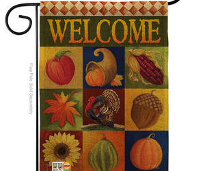 Autumn Collage Burlap - Impressions Decorative Garden Flag G163046-DB, an item from the 'Autumn Spirit' hand-picked list