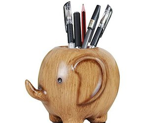 Lovely Elephant Resin Pencil Pen Holder Office Desk Organizer Decoration, an item from the 'Home Office Necessities ' hand-picked list