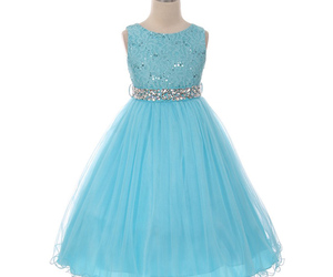 Turquoise Sequin Bodice Double Layers Tulle Skirt Rhinestones Flower Girl Dress, an item from the 'Girls Formal Occasion' hand-picked list