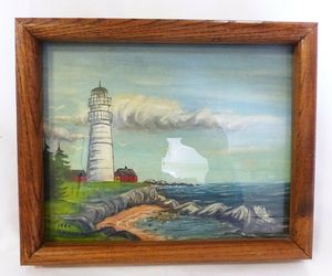 Nautical acrylic painting of lighthouse on the beach home decor sign a. penney, an item from the 'Community Picks: Nautical Isle of Paradise' hand-picked list